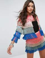 Missguided Ombre Layered Tassel Jacket