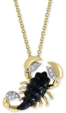 "Effy Onyx (16 x 6mm) & Diamond Accent Scorpion 18"" Pendant Necklace in 14k Gold"