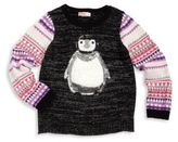 Design History Toddler's & Little Girl's Embellished Penguin Graphic Sweater