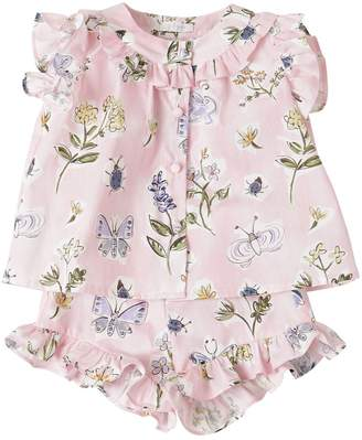 Il Gufo FLORAL PRINTED COTTON TOP & SHORTS