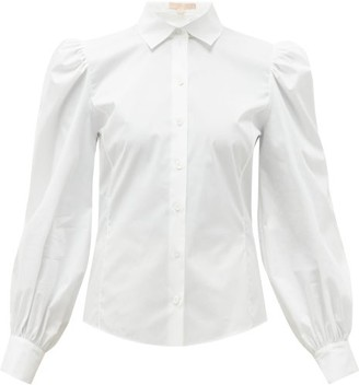 Brock Collection Puff-sleeved Cotton-blend Blouse - Womens - White