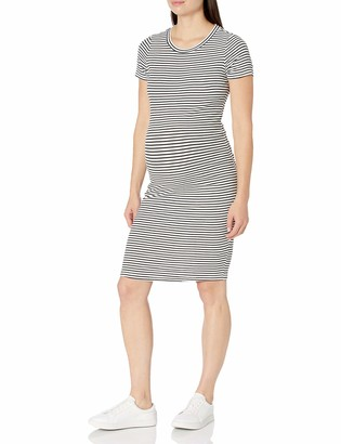 Motherhood Maternity Women's Short Sleeve Rib Bodycon Tee Shirt Dress