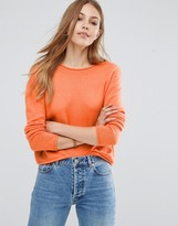 Asos Cropped Sweater with Rolled Edge Detail in Fluffy Yarn