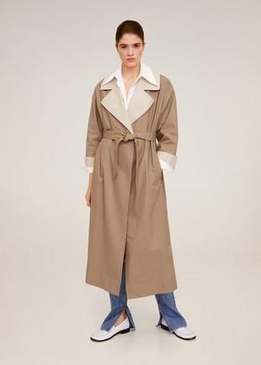 MANGO Contrast flaps trench beige - S - Women