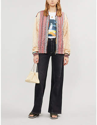 Free People Abstract-print reversible woven bomber jacket
