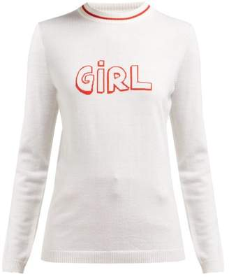 Bella Freud Girl-intarsia Wool Sweater - Womens - White Multi