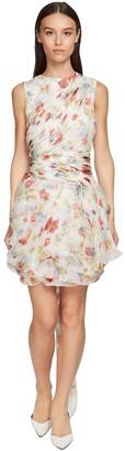 Ermanno Scervino Flower Print Organza & Lace Mini Dress