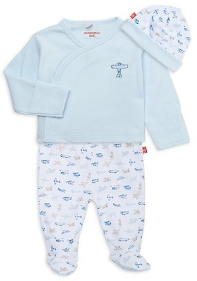 Magnetic Me Baby Boy's Airplanes 3-Piece Hat, Top Pants Set