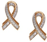 Effy Jewelry Pave Rose 14K Rose Gold Diamond Ribbon Earrings, 0.17 TCW