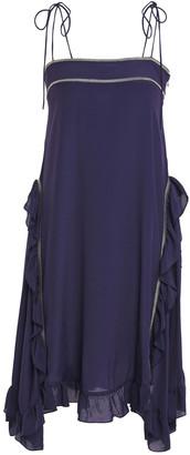 See by Chloe Metallic-trimmed Ruffled Crepe De Chine Dress