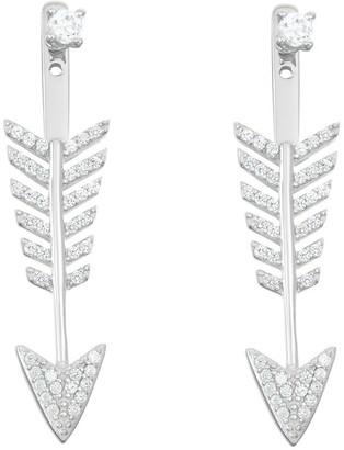 La Preciosa Sterling Silver Cubic Zirconia Arrow Ear Cuff Earrings