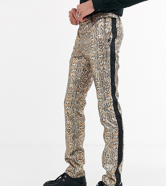 Twisted Tailor Tall super skinny trousers in metallic leopard print
