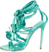 Brian Atwood Metallic Fringe Lace-Up Sandals