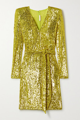 Naeem Khan Belted Sequined Stretch-tulle Mini Dress - Chartreuse