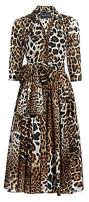 Samantha Sung Women's Aster Animal-Print Cotton Shirtdress