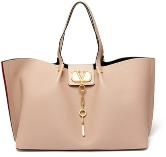 Valentino Escape V-logo Medium Grained-leather Tote Bag - Womens - Nude