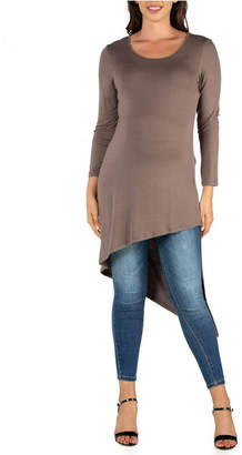 24Seven Comfort Apparel Full Length Long Sleeve Asymmetric Hem Maternity Top