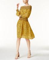 MICHAEL Michael Kors Finley Off-The-Shoulder Peasant Dress