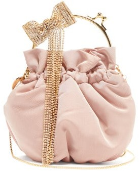 Rosantica Barbie Crystal-bow Twill Clutch - Light Pink