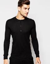 Asos Loungewear Long Sleeve Grandad T-shirt In Rib Fabric - Black
