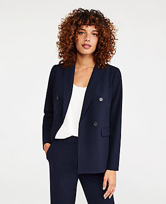 Ann Taylor The Petite Double Breasted Blazer in Seasonless Stretch