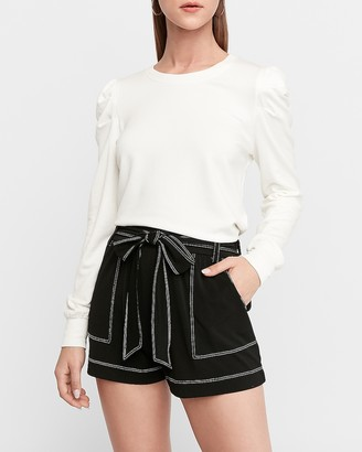 Express Super High Waisted Knit Sash Tie Utility Shorts