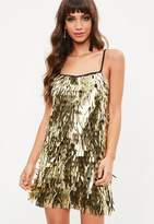 Missguided Gold Sequin Mini Dress