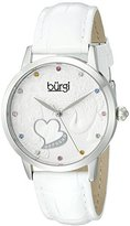 Burgi Women's BUR149WT Silver Quartz Watch With Swarovski Crystal Accented Dial and White Embossed Leather Strap
