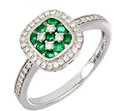 Bony Levy Checkerboard Emerald & Diamond Halo Ring
