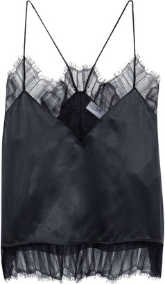 IRO Bajado Lace-trimmed Washed-silk Camisole