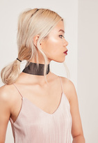 Missguided Thick Organza Choker Necklace Black