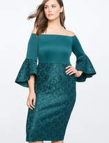 ELOQUII Lace Ruffle Sleeve Off the Shoulder Dress
