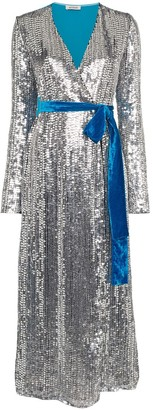 ATTICO Belted Sequin Velvet Midi Dress