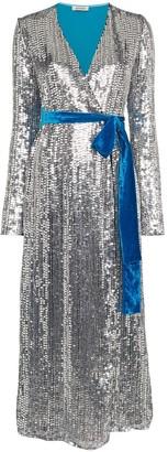 ATTICO Belted Sequin Velvet Midi Dress