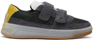 Acne Studios Grey and Green Suede Perey Strap Sneakers