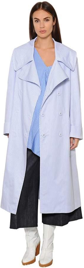 Maison Margiela Striped Cotton Poplin Trench Coat