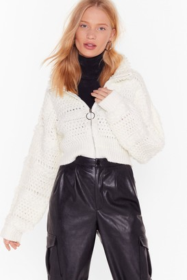 Nasty Gal Womens Keep Us in the Loop Shaggy Cropped Jacket - cream - S