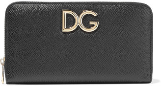 Dolce & Gabbana Embellished Textured-leather Continental Wallet