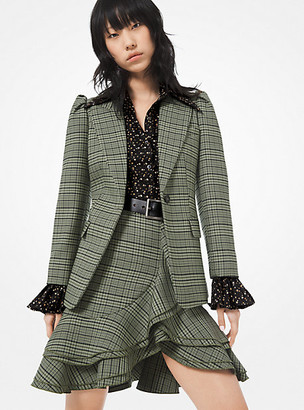 Michael Kors Plaid Stretch-Wool Blazer