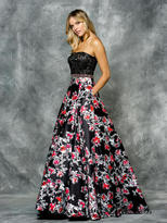 Colors Dress - 1708 Beaded Strapless Floral Satin Dress
