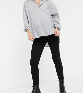 Urban Bliss Maternity high waisted stay skinny jeans in black