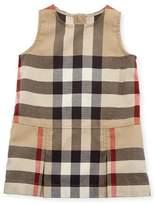 Burberry Dawny Sleeveless Pleated Check Dress, New Classic, Size 6M-3