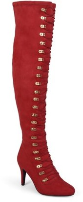 Brinley Co. Women's Wide Calf Vintage Almond Toe Over-the-knee Boots