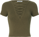 Alexander Wang Olive Lace-Up Short Sleeve Sweater