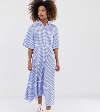 Sister Jane exclusive button through midi shirt dress with full skirt-Blue