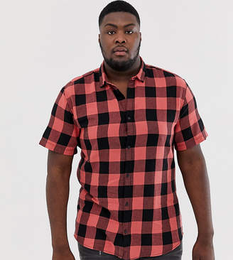 ONLY & SONS short sleeve check shirt in red