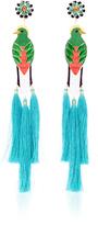Mercedes Salazar Bird Turquoise Drop Tassel Earrings