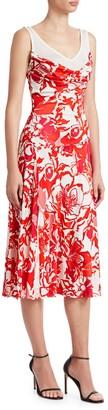 Roberto Cavalli Rose Print Liquid Viscose Jersey Dress