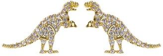 Eye Candy Los Angeles T-Rex 14K Yellow Gold Plated Brass Pave CZ Stud Earrings