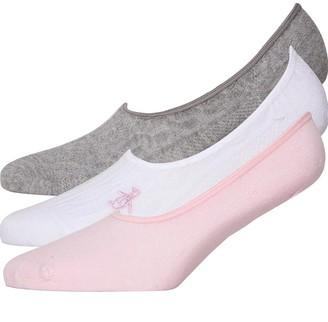 Original Penguin Womens Three Pack Footsies White Pink Grey